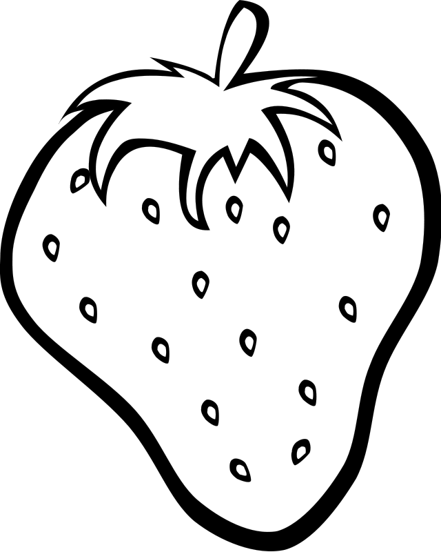coloring page of big strawberry printables for preschoolers