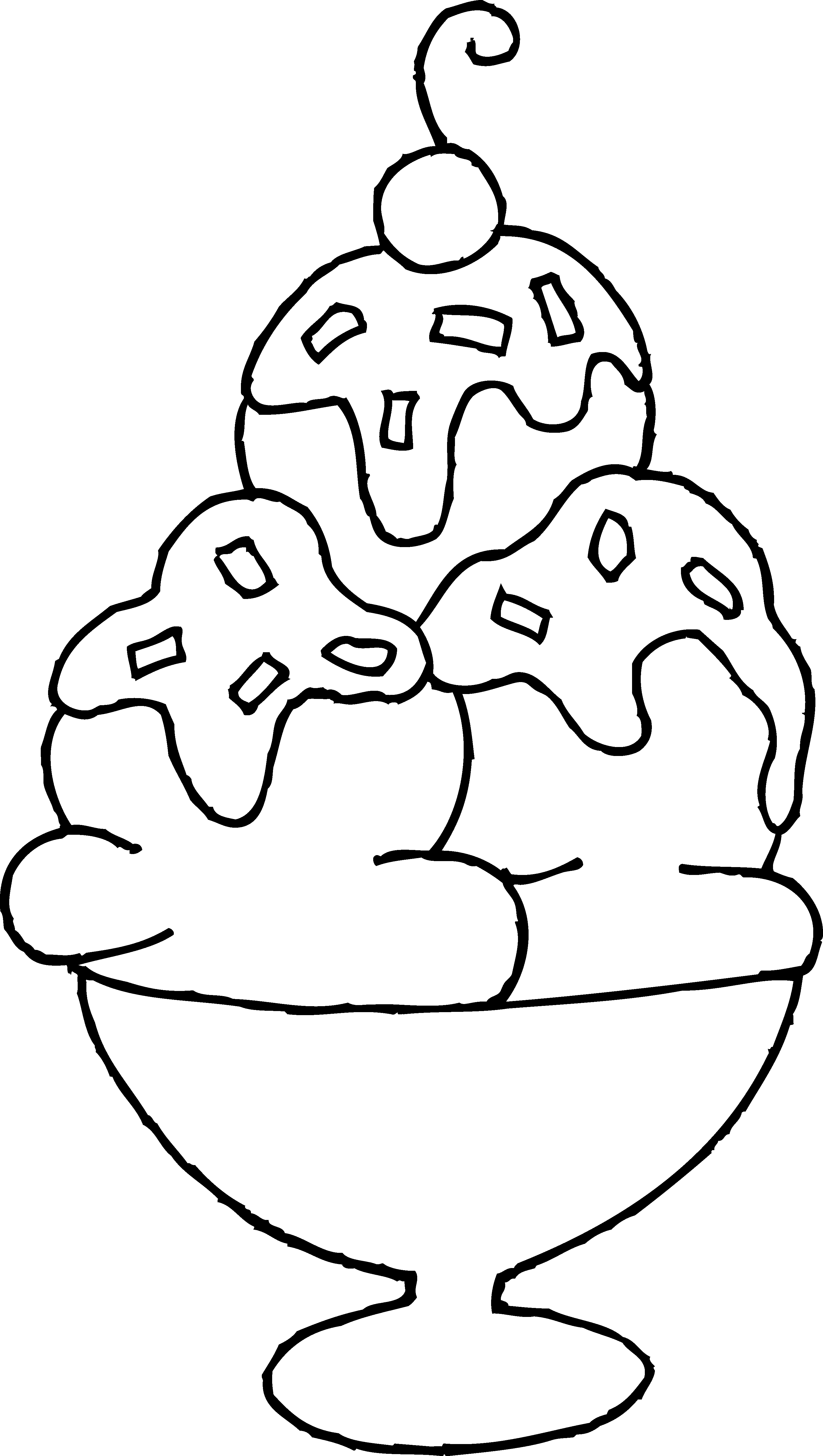 Ice cream sundae pages. Yogurt clipart coloring page