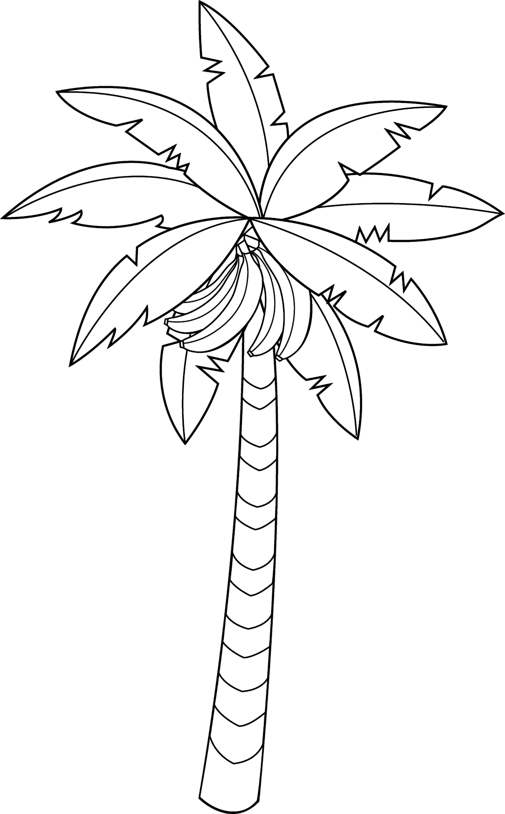 Coloring pictures of bananas. Clipart tree banana