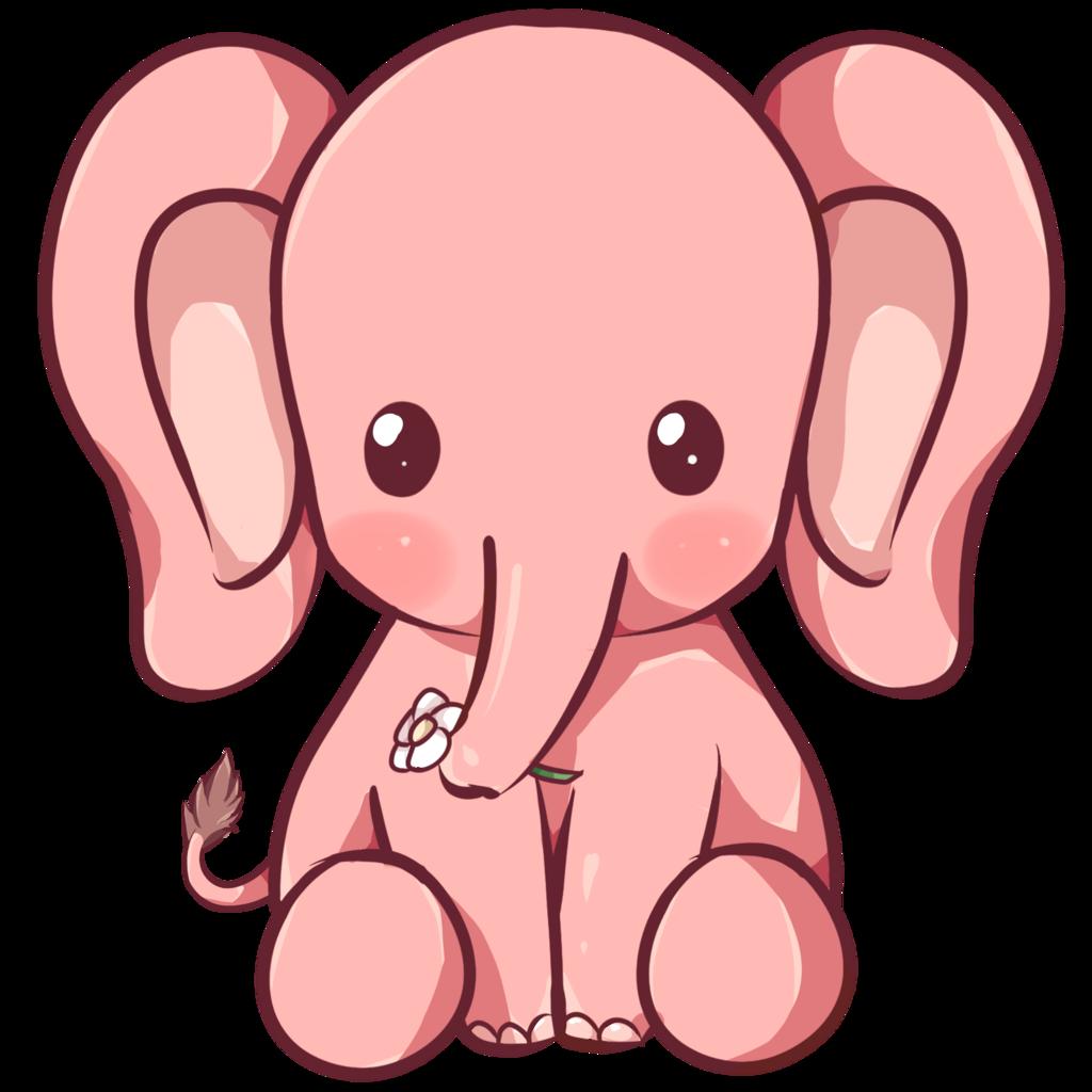 Elephant by dessineka on. Garden clipart kawaii