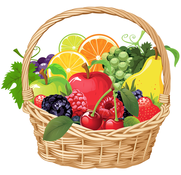 Milk clipart fruit. Basket png vector