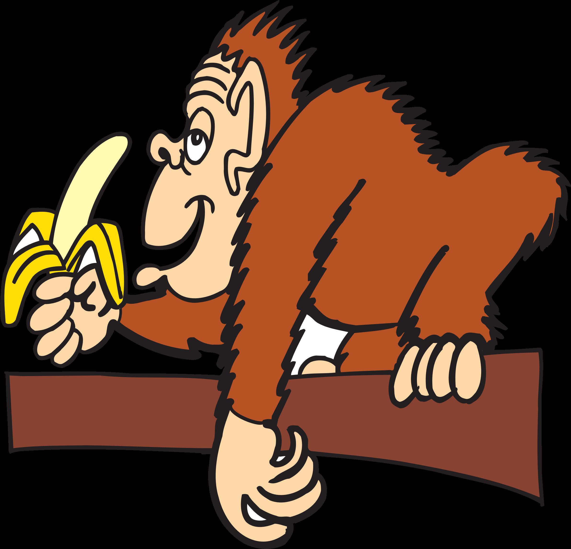 Orange clipart banana. Ape eating big image