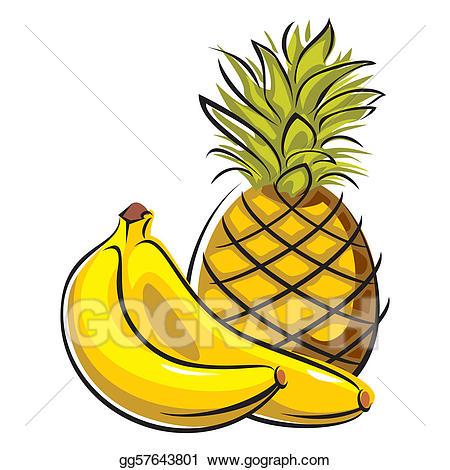 Pineapple clipart banana. Vector and bananas illustration