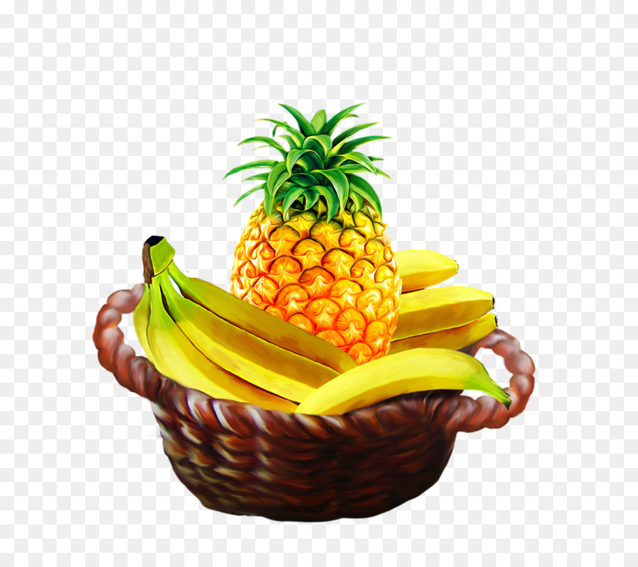 Drawing of family fruit. Pineapple clipart banana