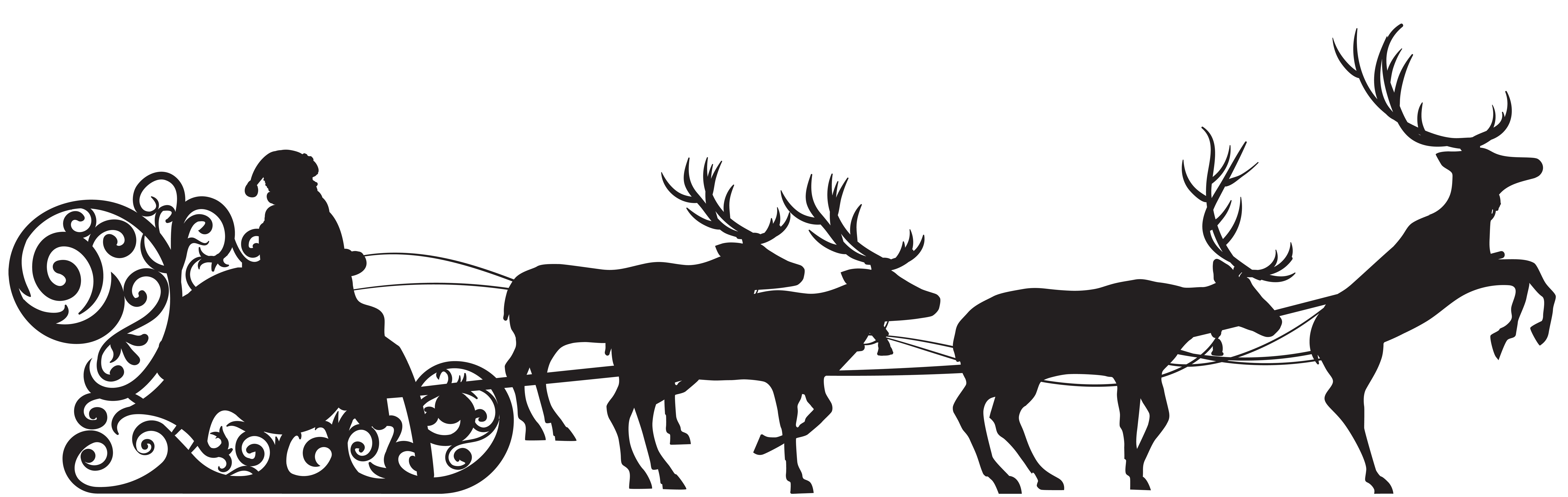 Santa claus reindeer sled. Deer clipart shadow