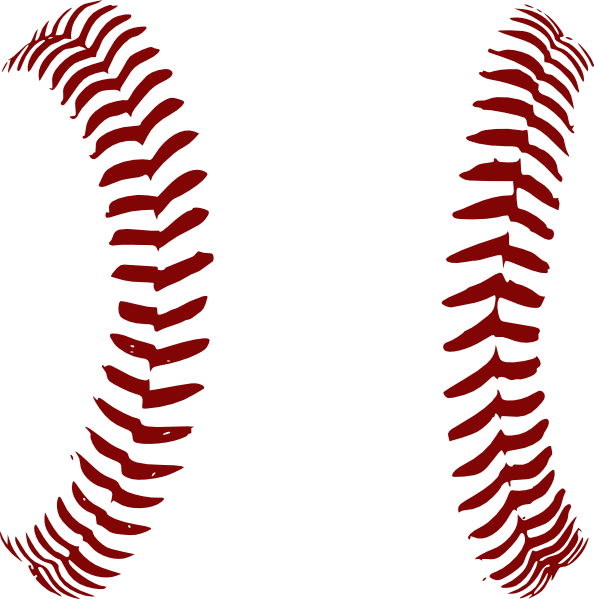 Red laces only clip. Stitch clipart softball