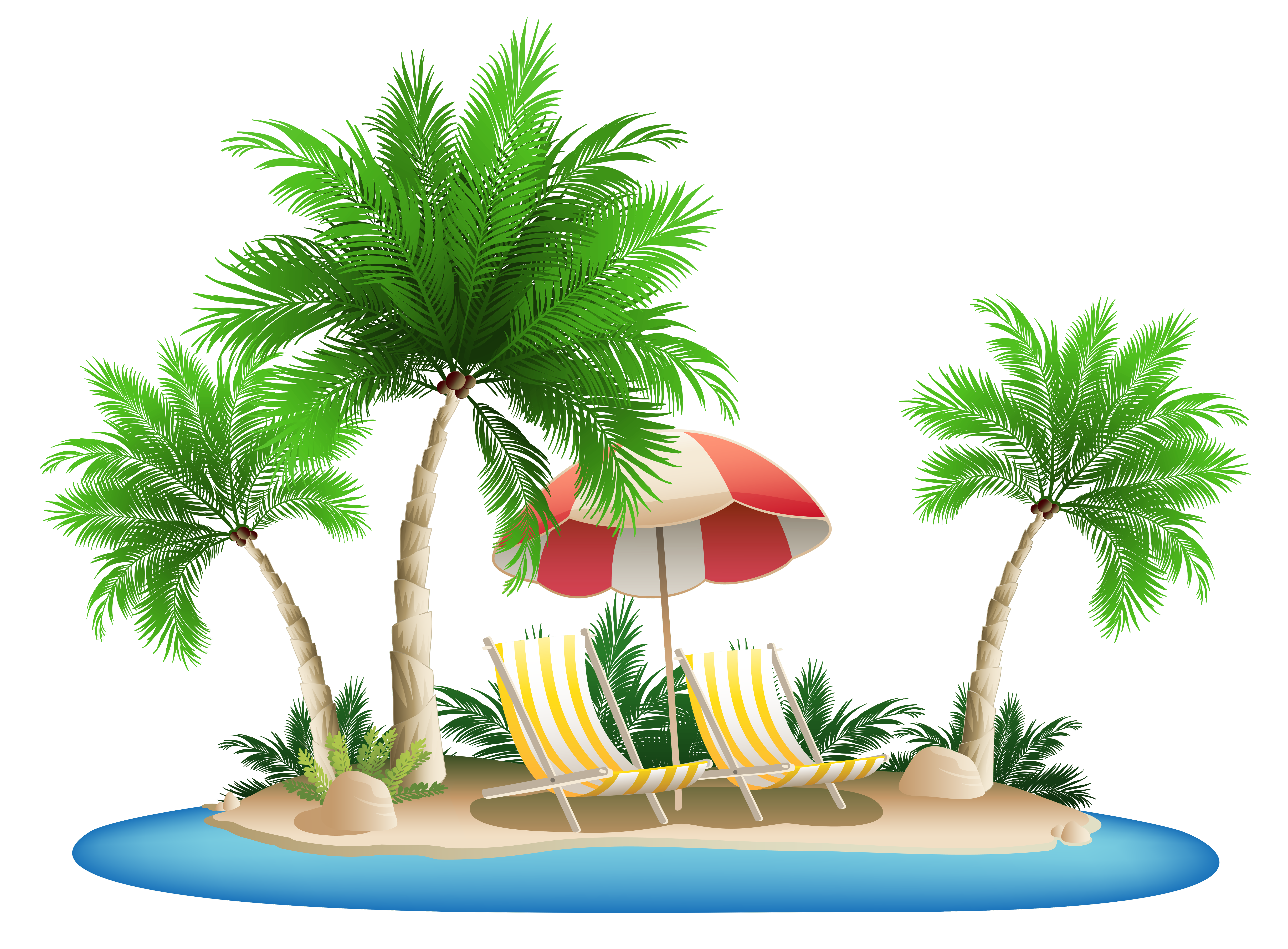 Umbrella with chairs and. Plants clipart beach