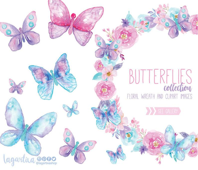 Clipart butterfly banner. Watercolor butterflies png floral