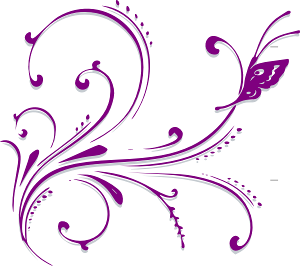 Butterfly border . Filigree clipart purple