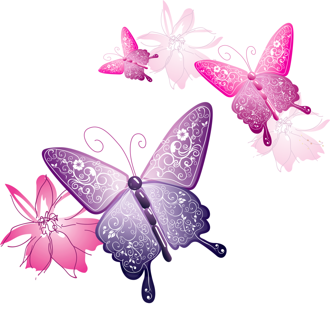Clipart rose butterfly. Transparent decorative gallery yopriceville