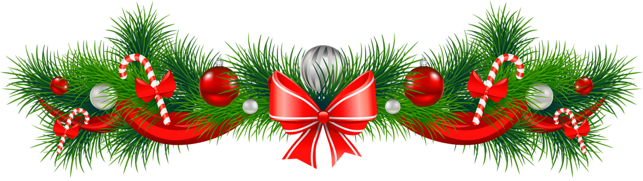 Christmas garland border png. Transparent pine with red