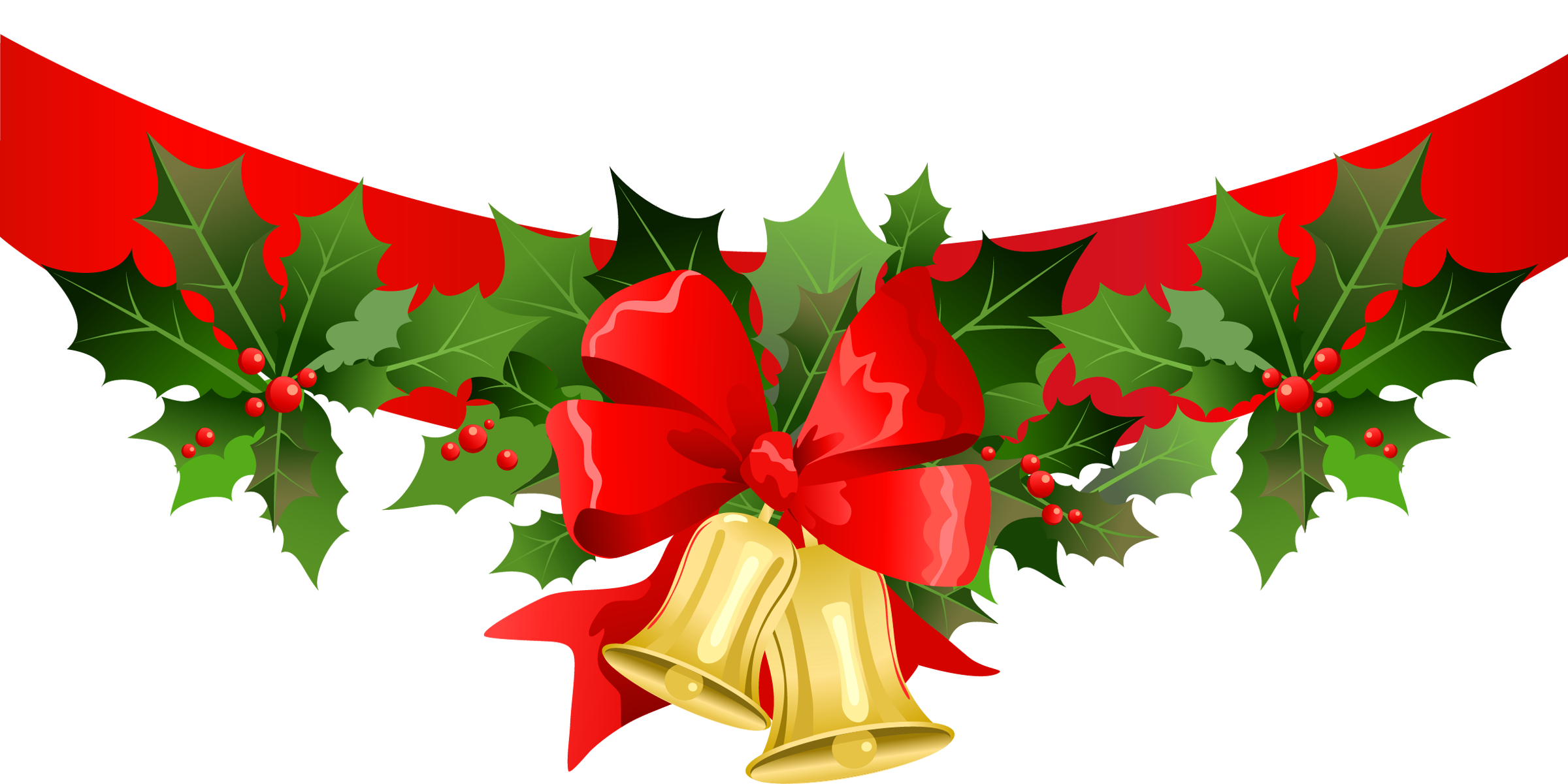 Banner with gold bells. Clipart christmas song