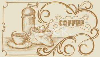 Clipart coffee banner. Freehand vektory z knihovny