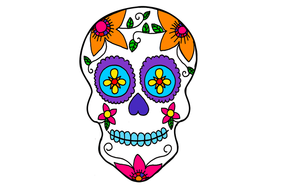 Mexico day of the. Clipart skull basic