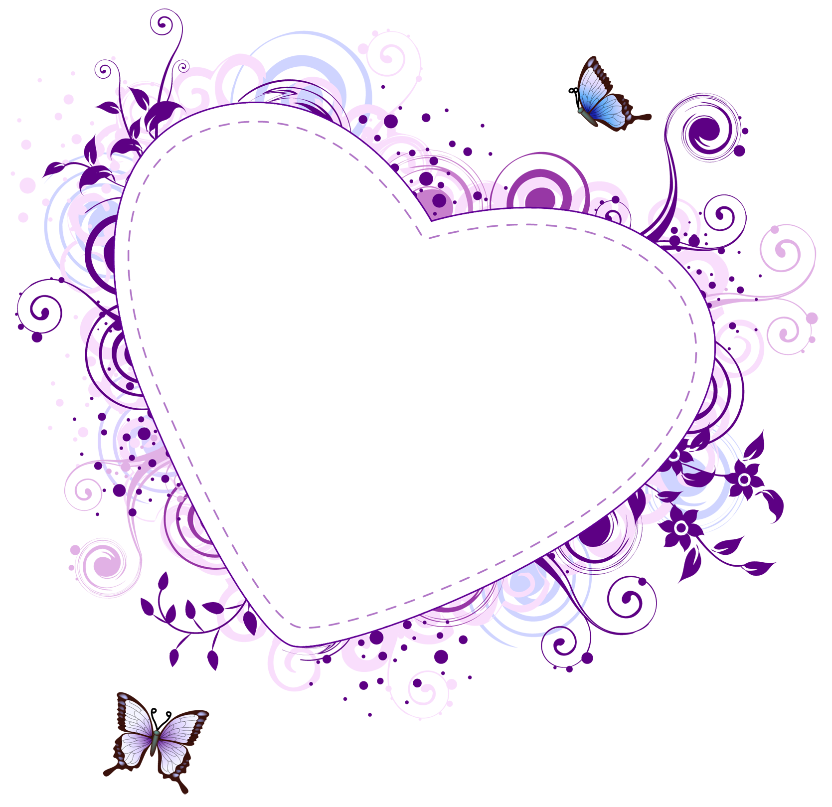 Filigree clipart purple. Heart borders and frames