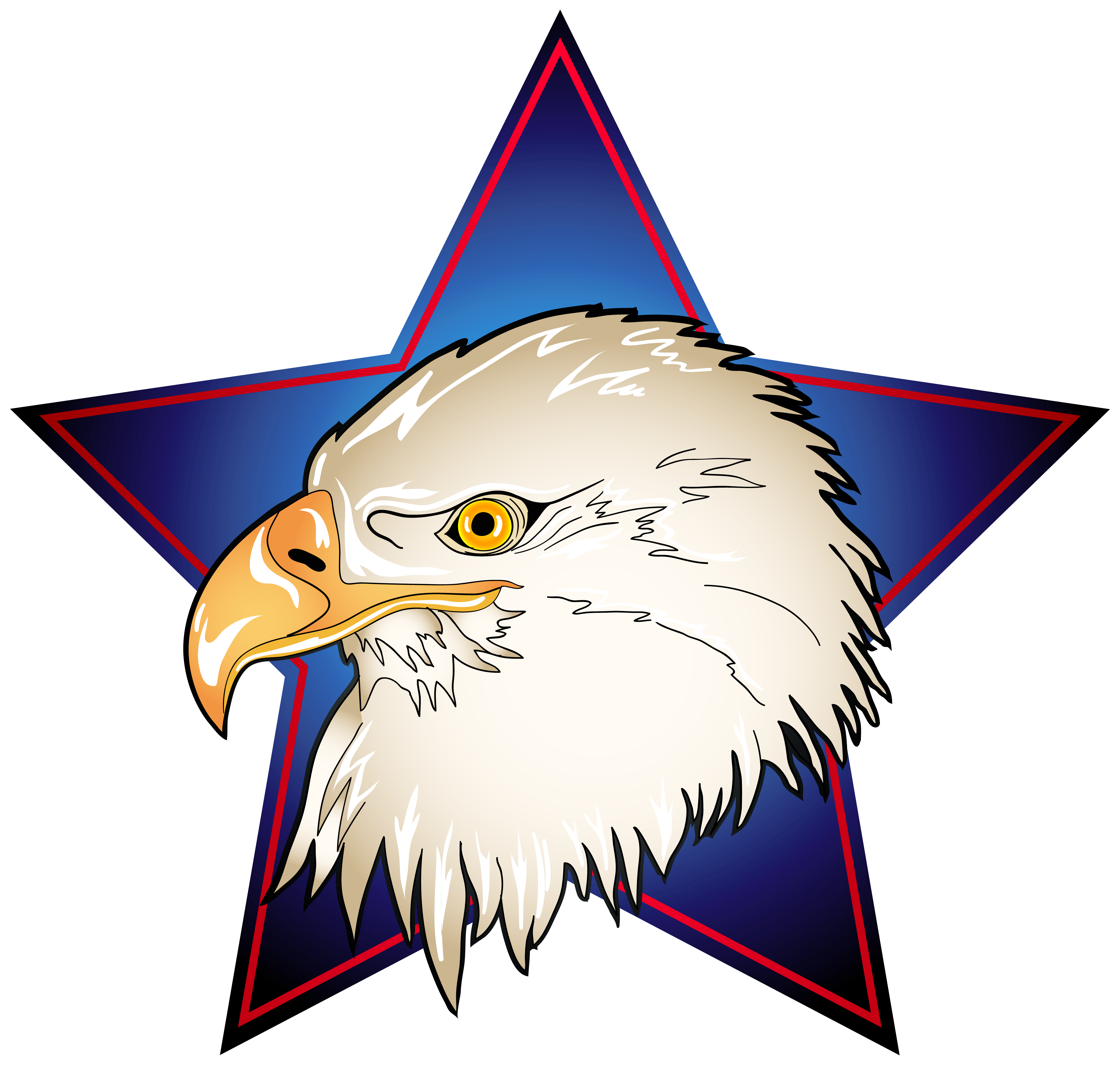 Head in blue star. July clipart eagle