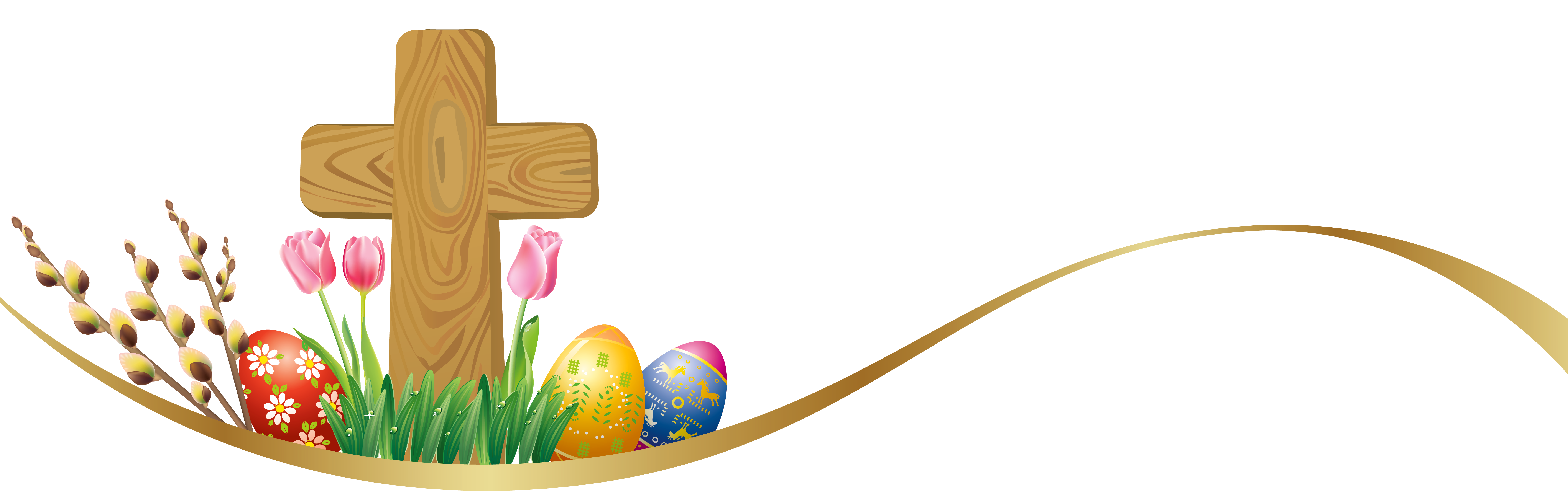 Deco with eggs and. Clipart cross easter