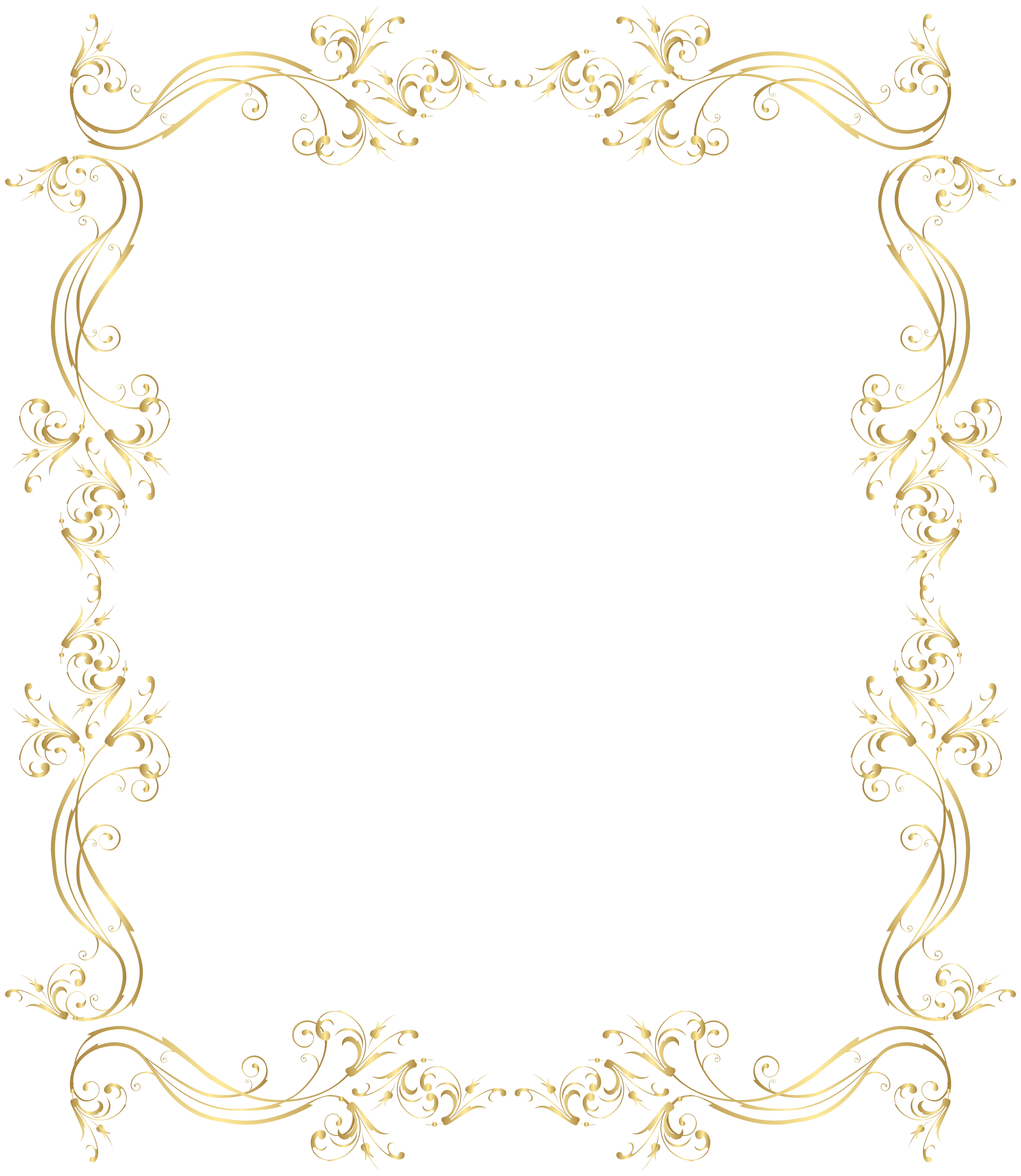 Floral border png. Frame gold clip art