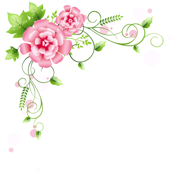Floral decoration png picture. Glitter clipart corner