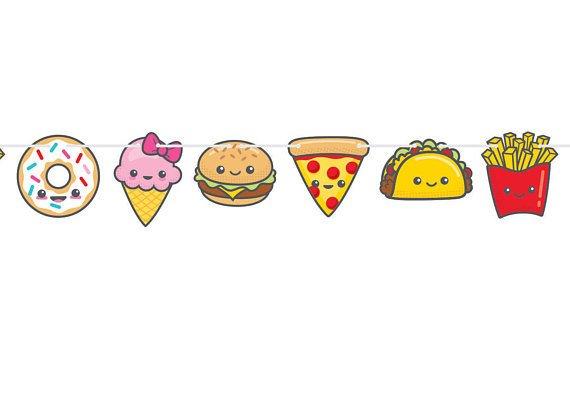 Kawaii party fun junk. Foods clipart banner