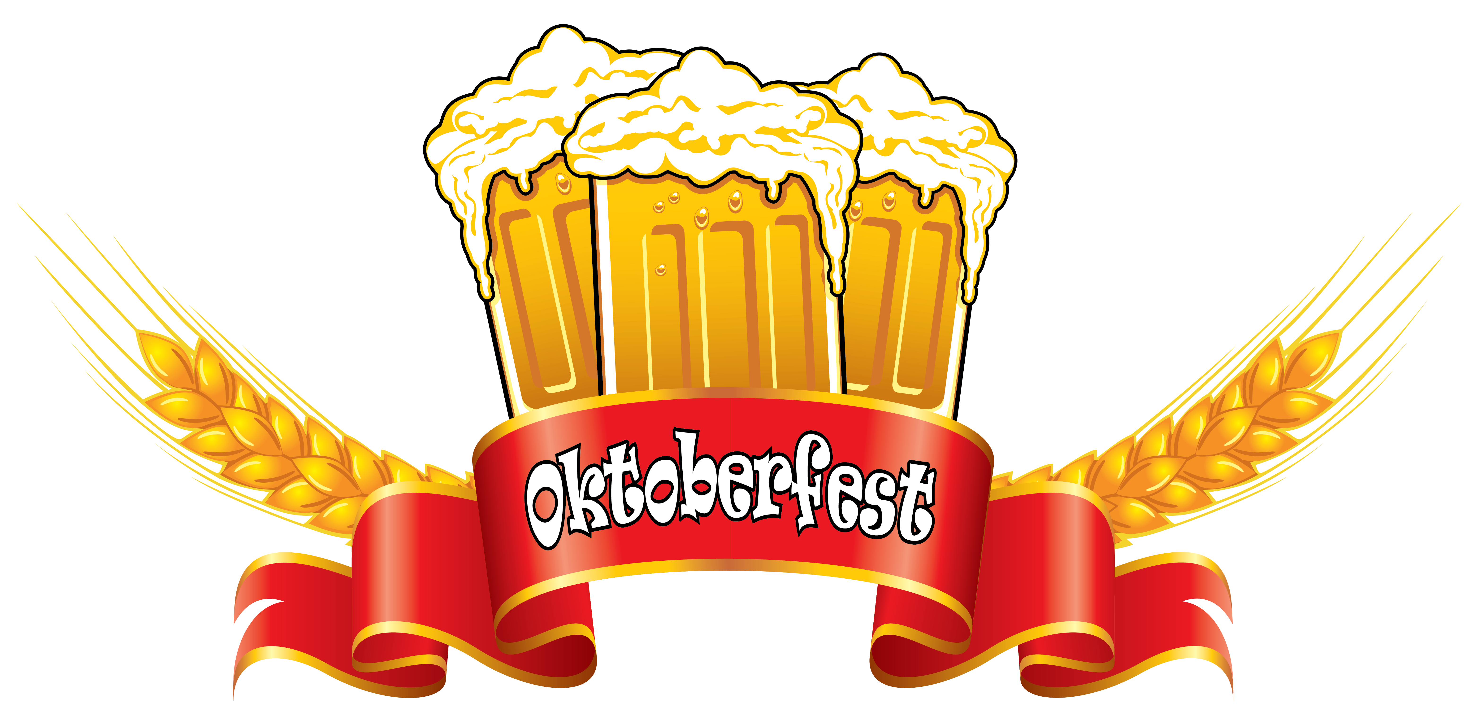 Foods clipart banner. Oktoberfest red with beer