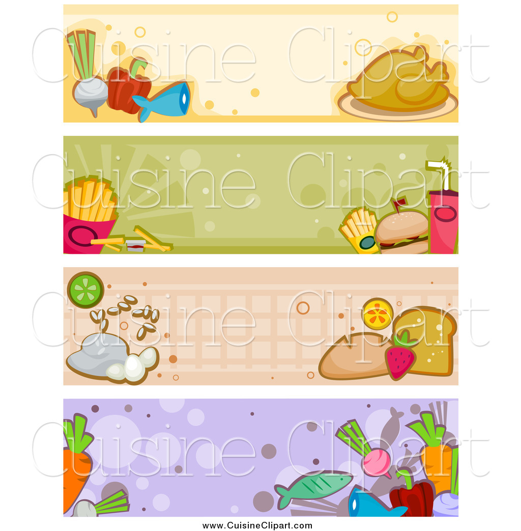 Cuisine of four food. Foods clipart banner