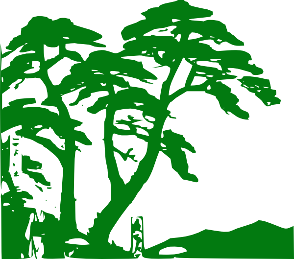 Woodland clipart tree growth. Rain forest shilouettes green
