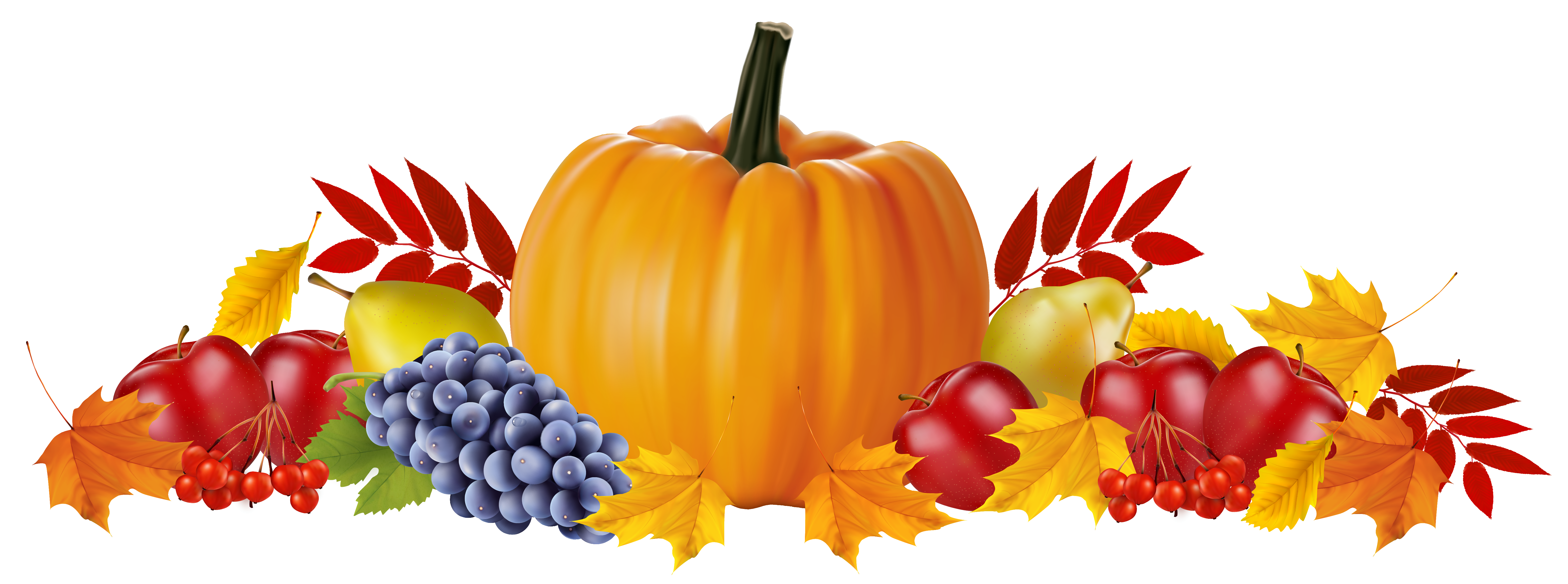 Autumn fruits and leaves. Clipart fruit summer fruit