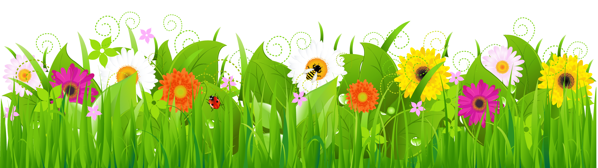 Grass with flowers and. Clipart roses natural