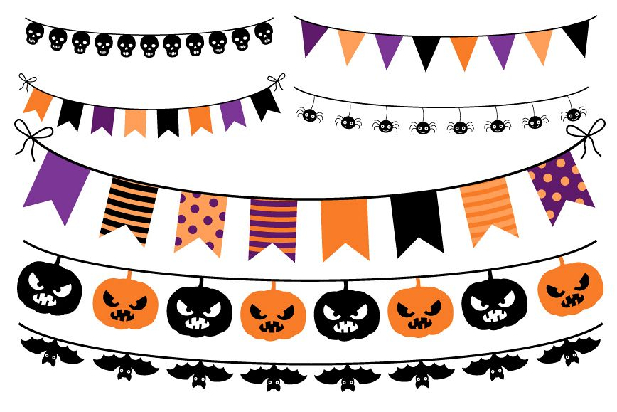 Clipart halloween banner. Bunting orange purple flags