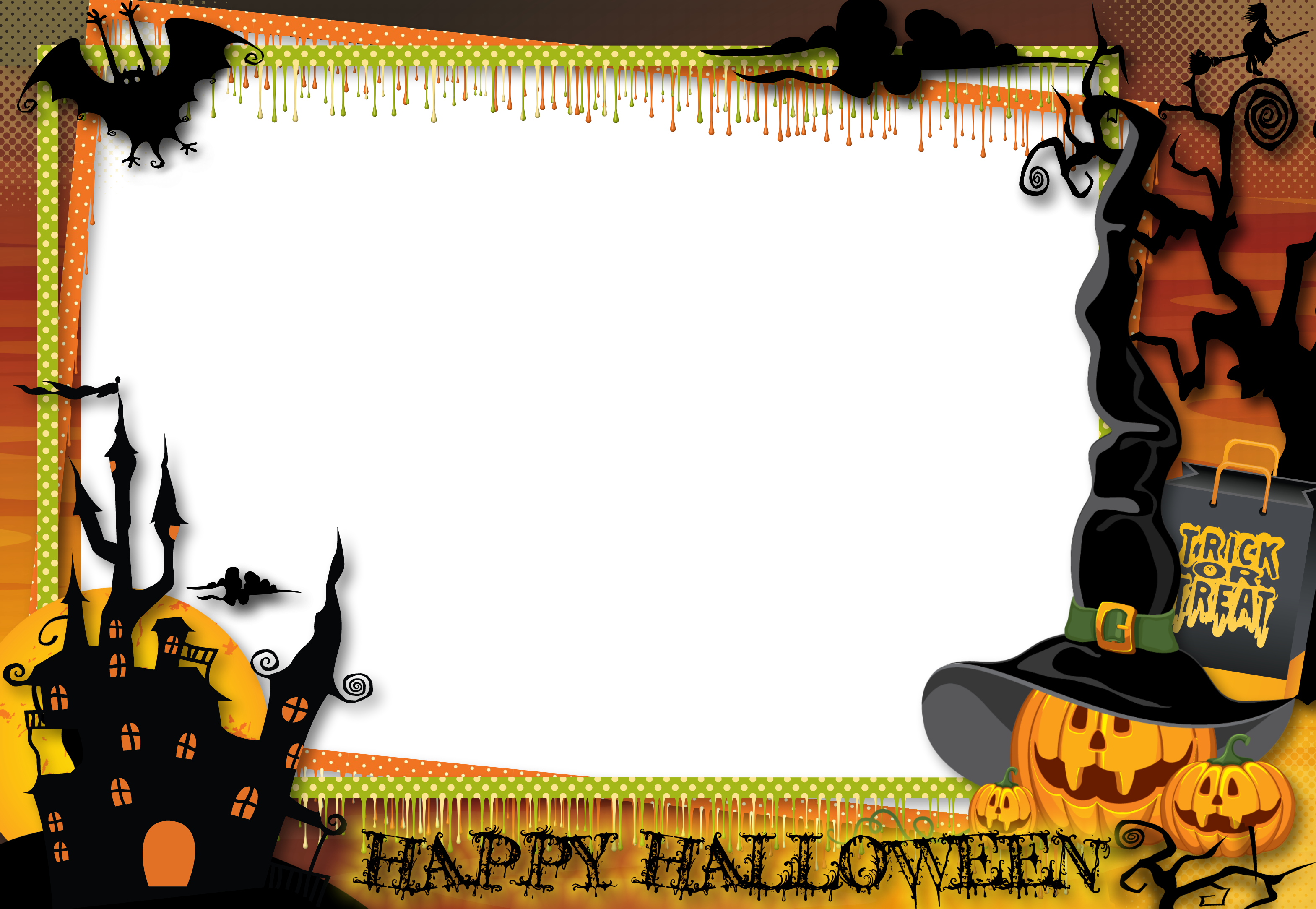 Transparent large photo frame. Halloween border png