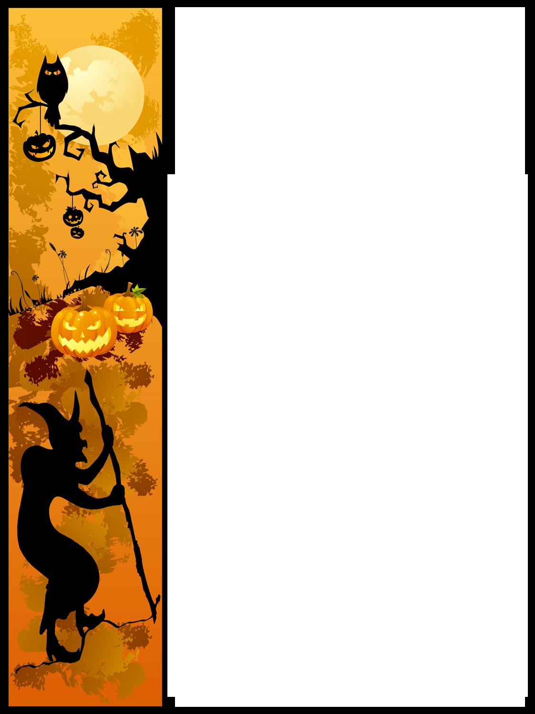 Halloween border panda free. Crayon clipart horizontal