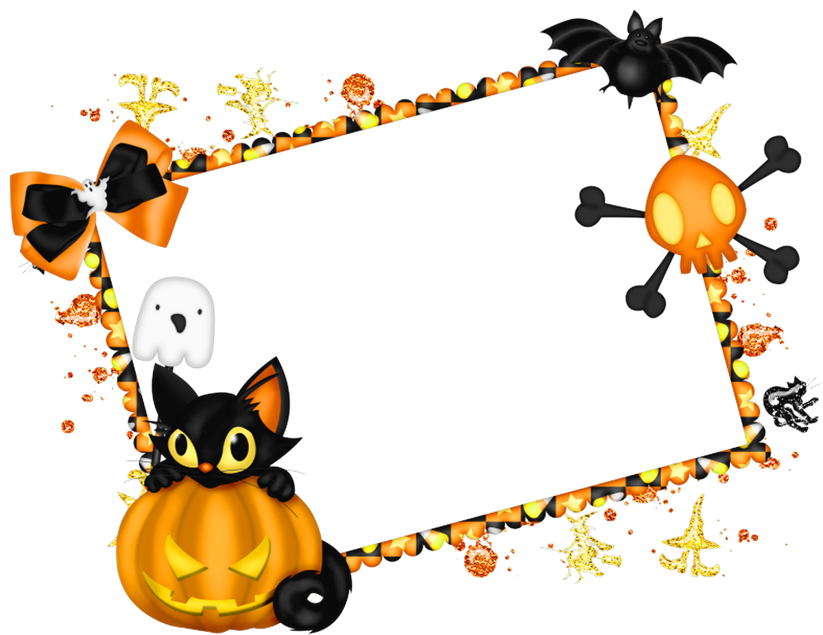 Witch clipart childrens. Cute halloween border frame