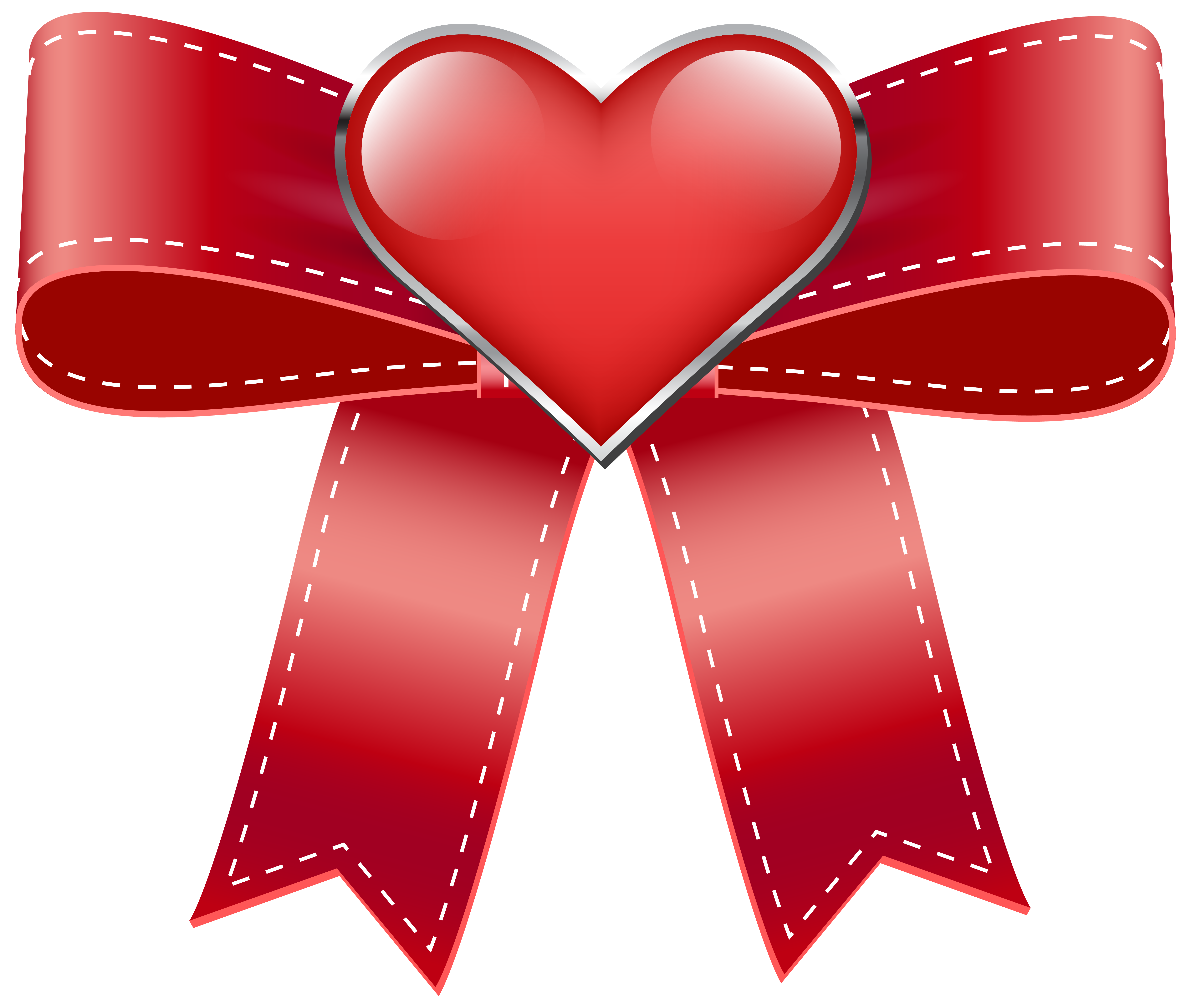 Hearts clipart ribbon. Red bow with heart