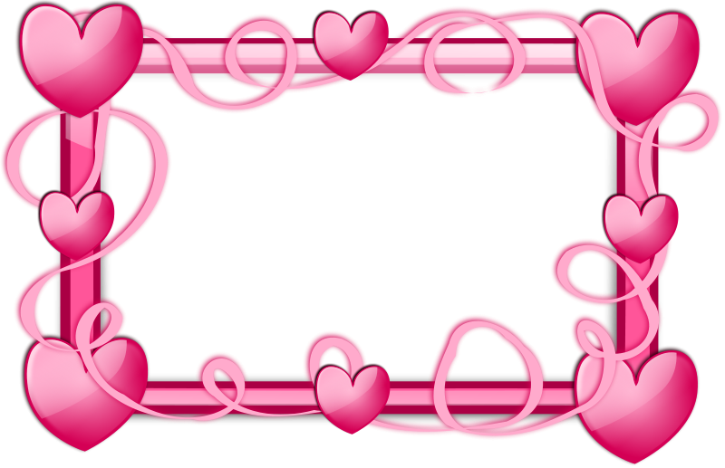 Pink hearts border free. Heart clipart banner