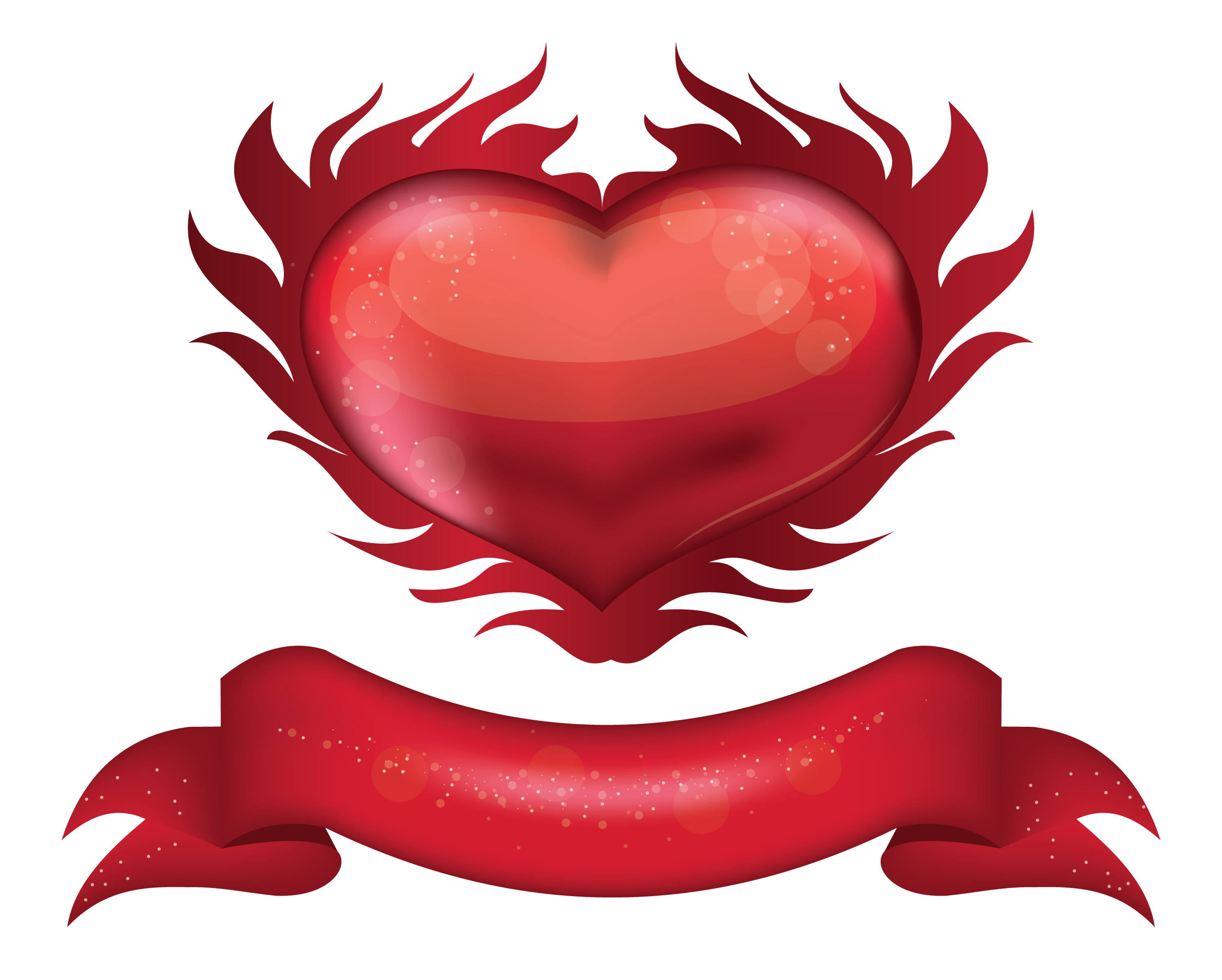 Clipart heart banner. Red with png picture