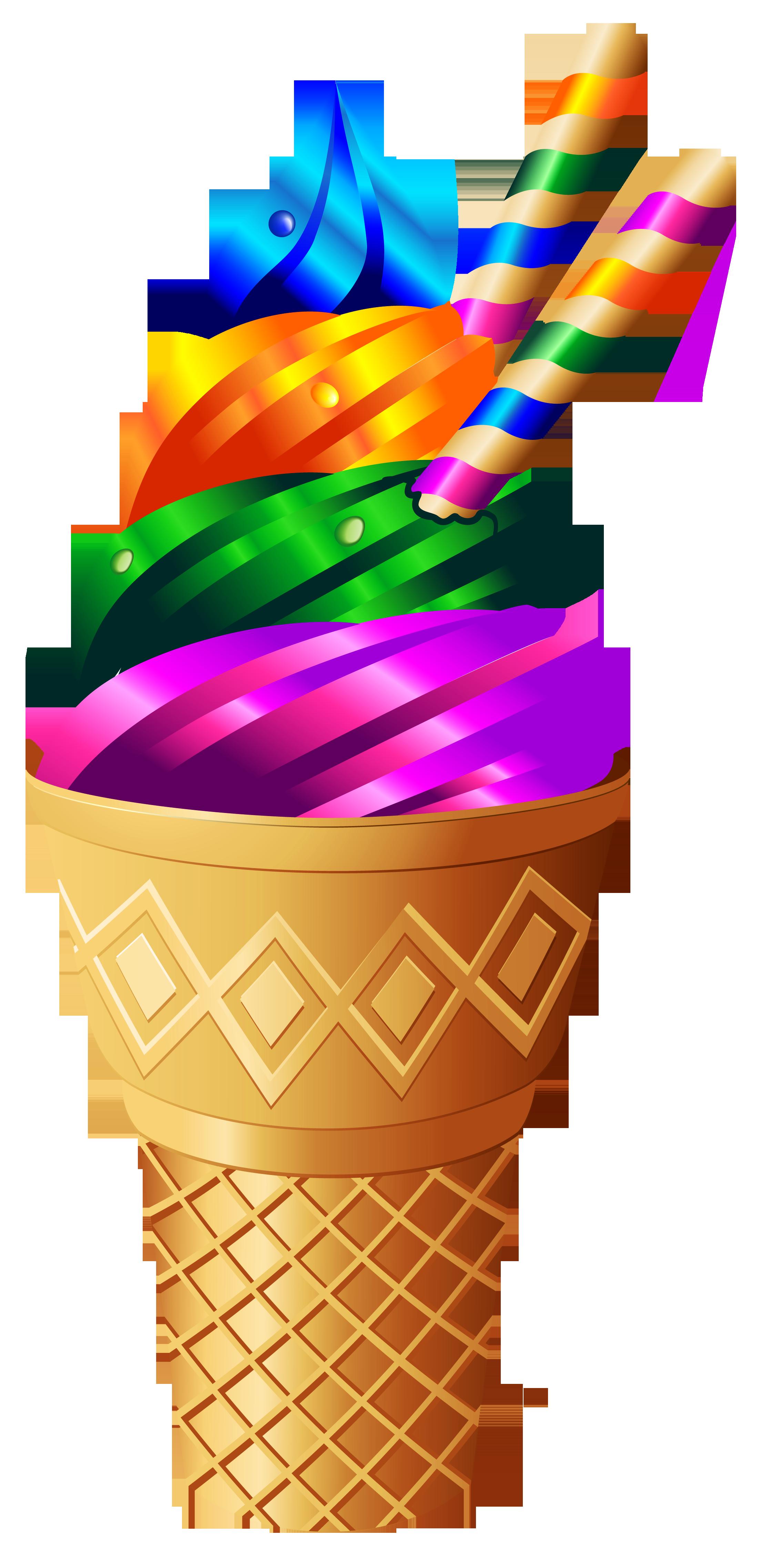 Rainbow ice cream png. Icecream clipart transparent background