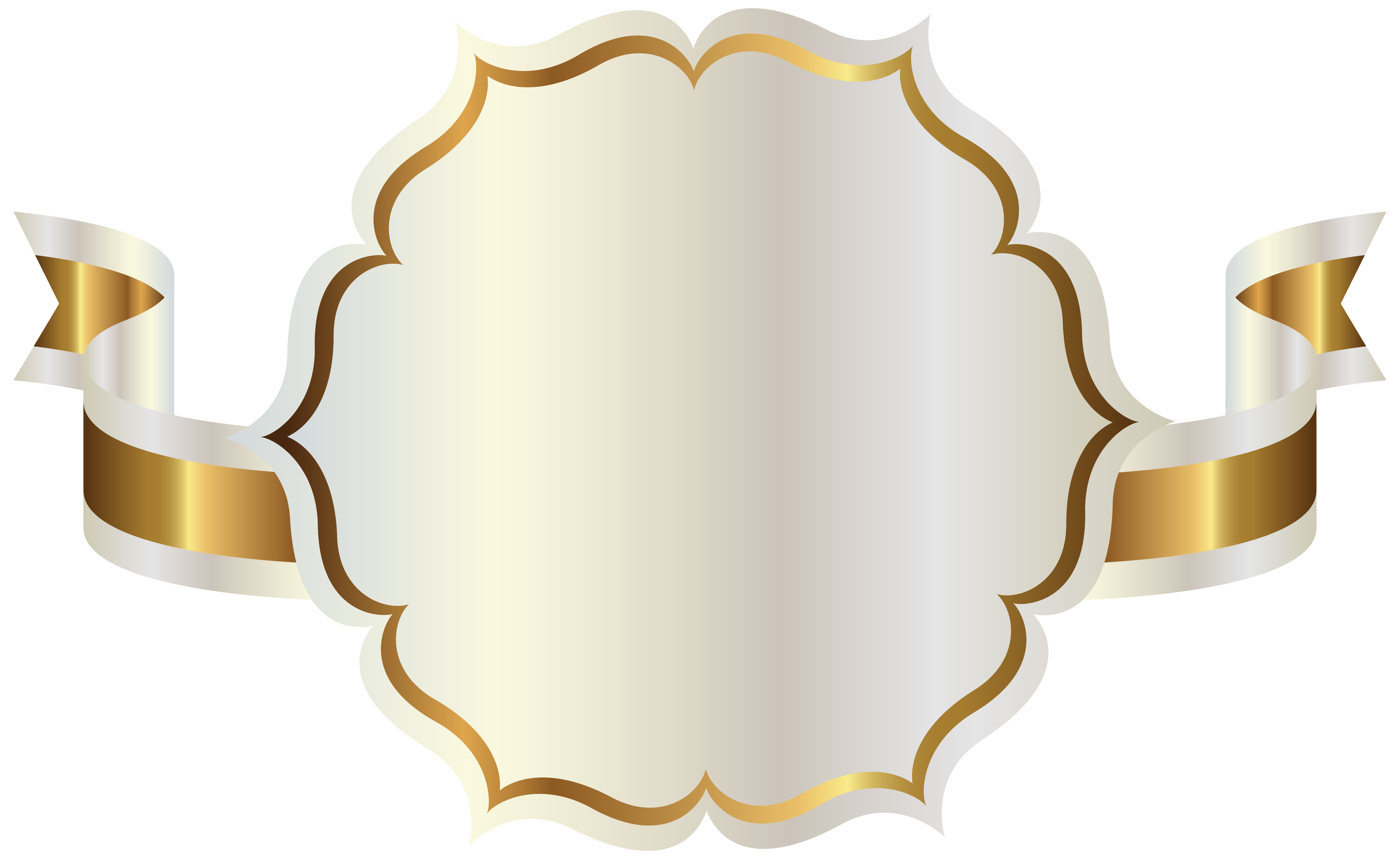 White with gold ribbon. Flags clipart label