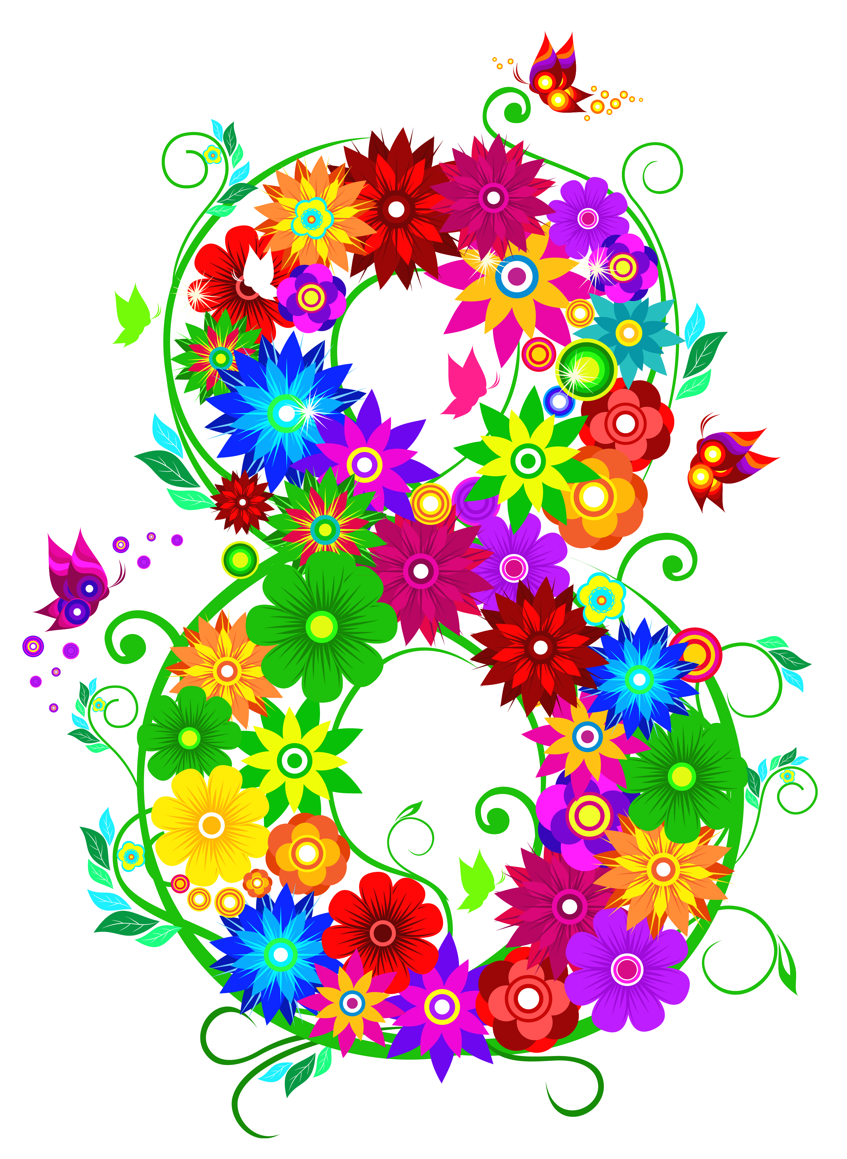 Floral march png picture. Clipart flower number