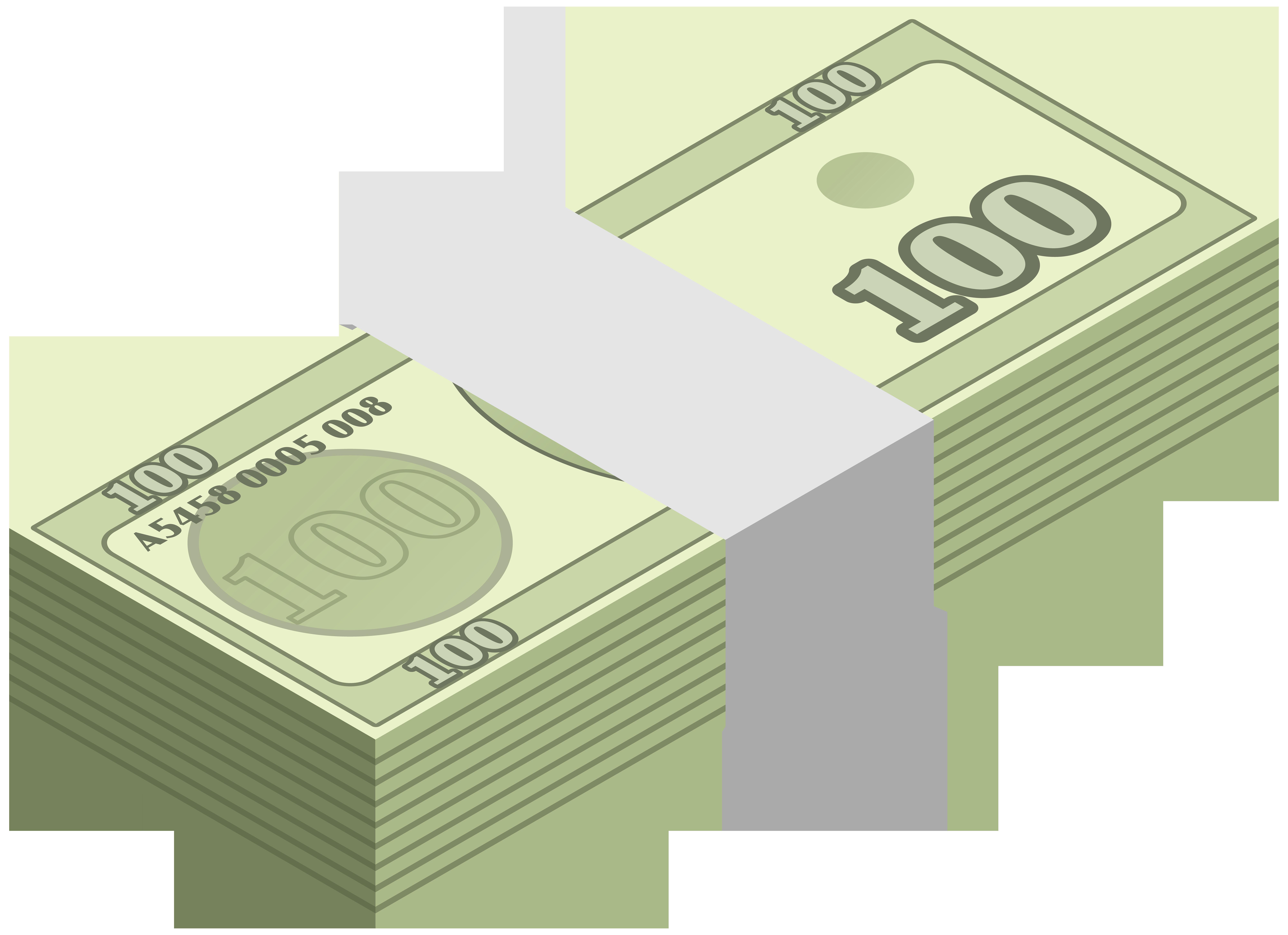 Wad of transparent clip. Clipart border money