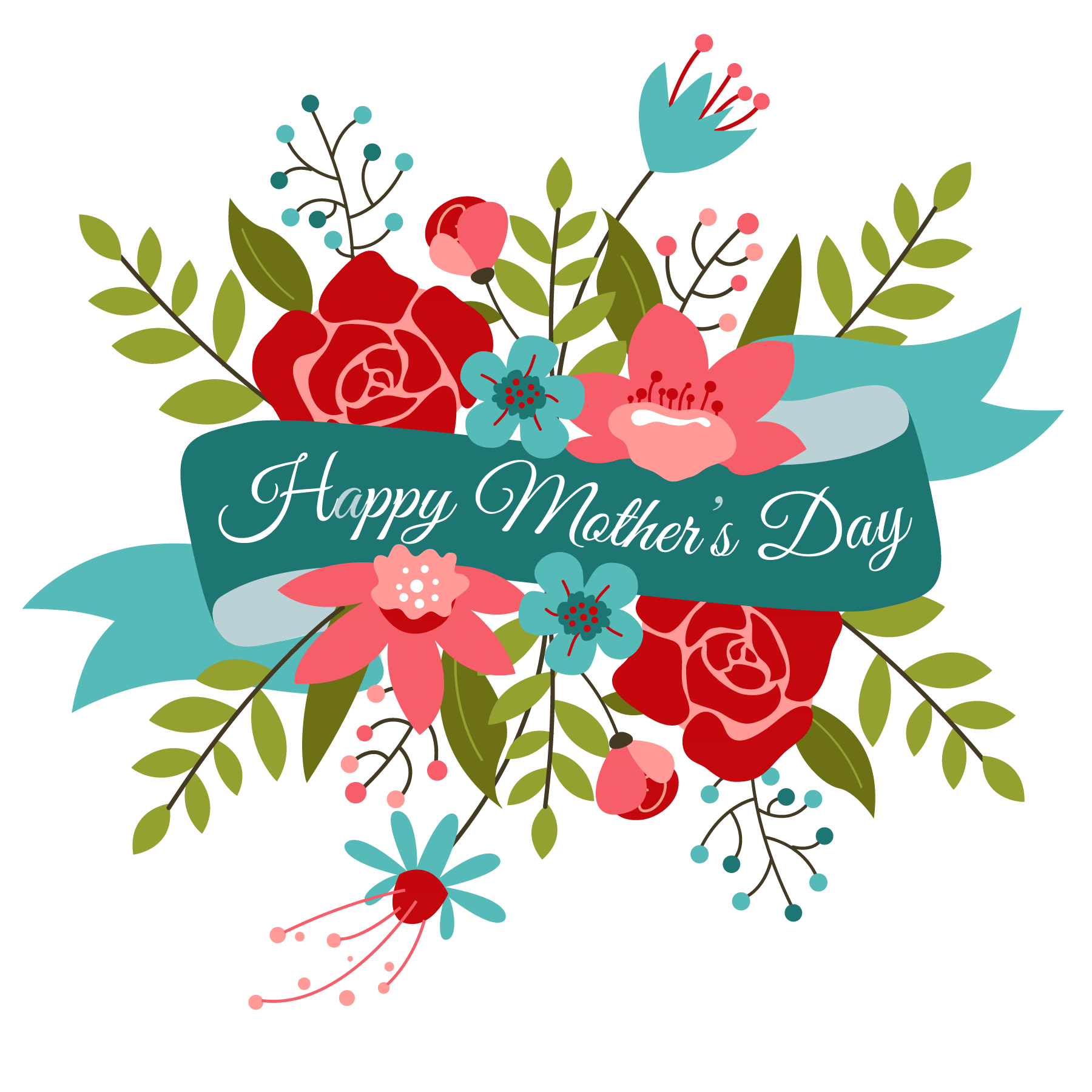 Happy mothers day bouquet. Mom clipart banner