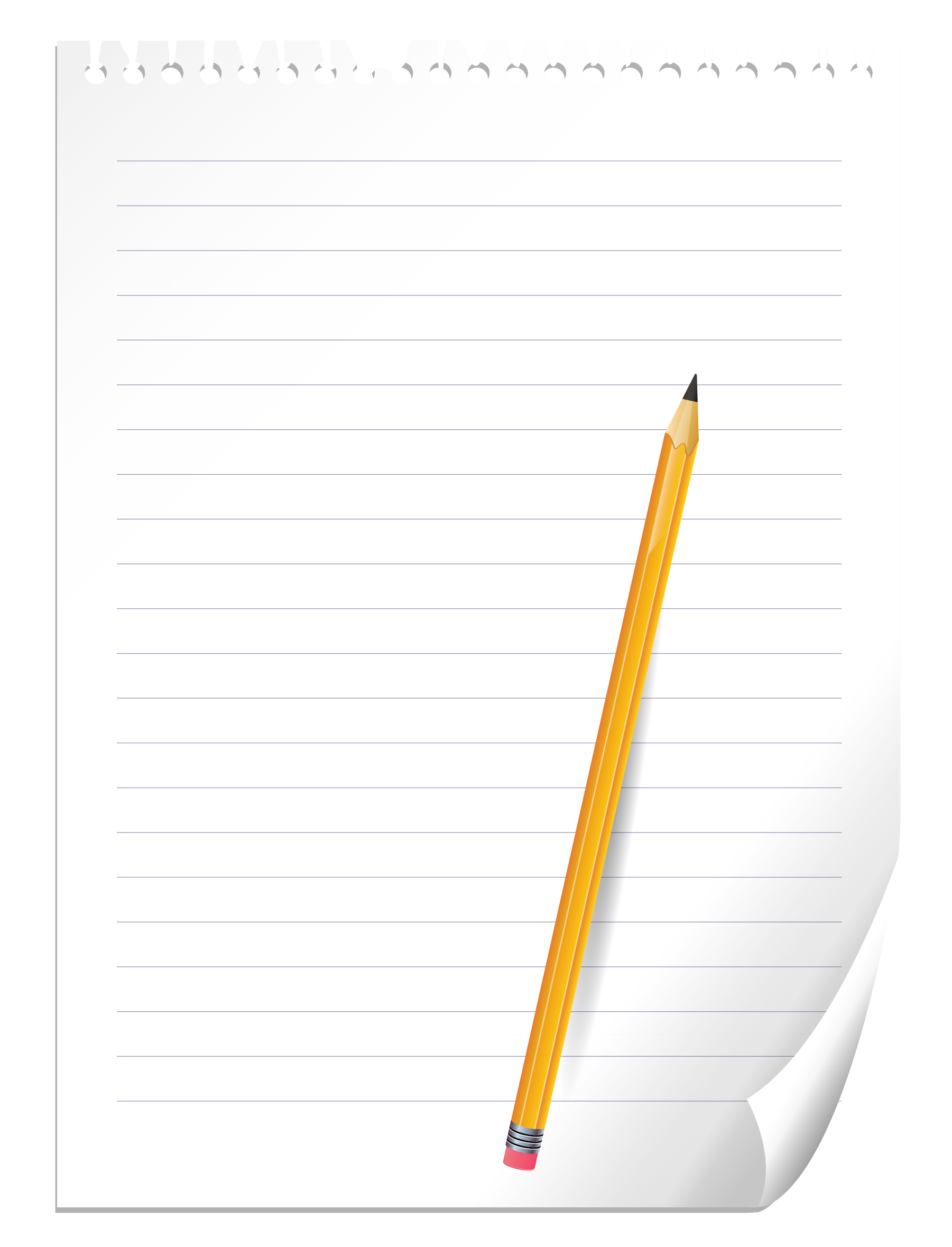 And notebook paper png. Clipart pencil clear background