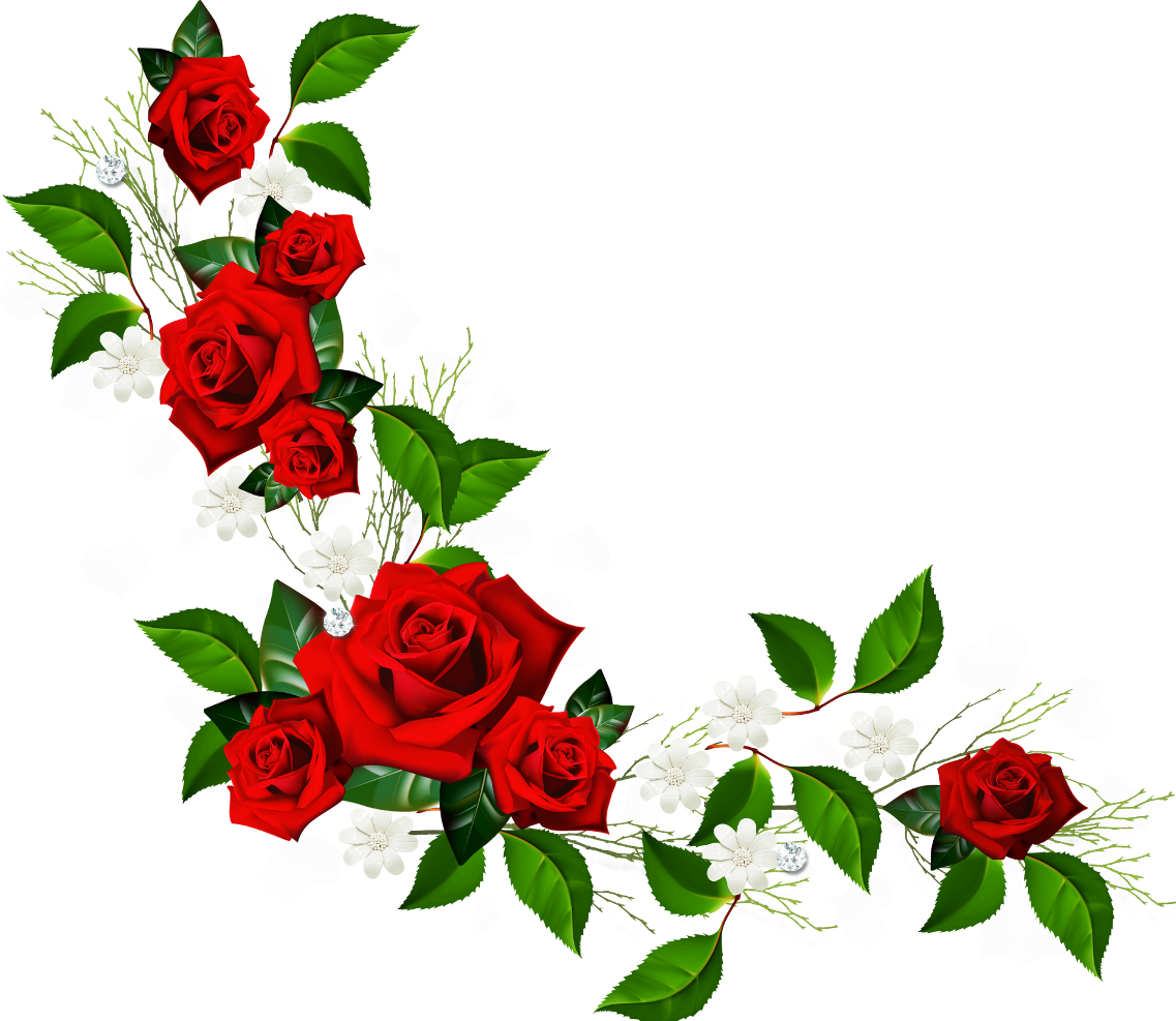 Decorative element with red. Clipart rose basic
