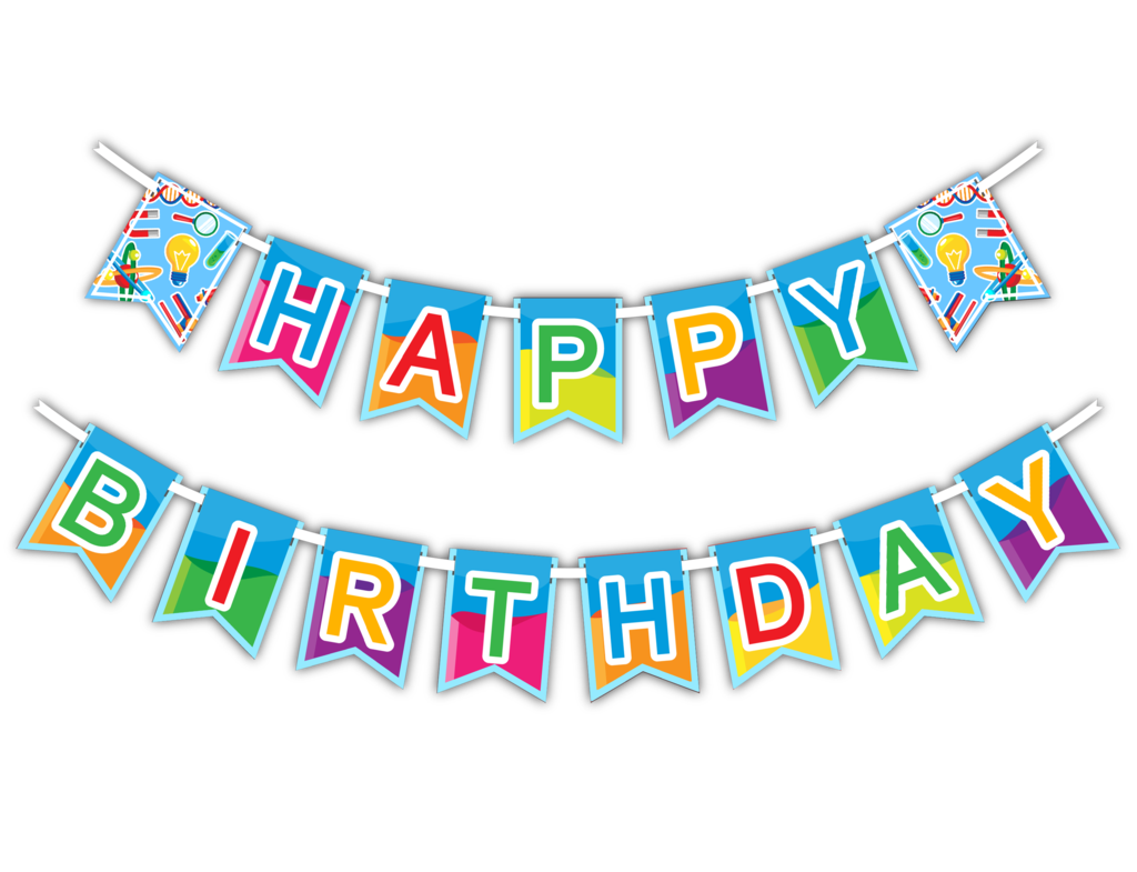 Party clipart party banner. Super science happy birthday