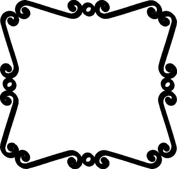 Black scroll border clip. Square clipart curvy
