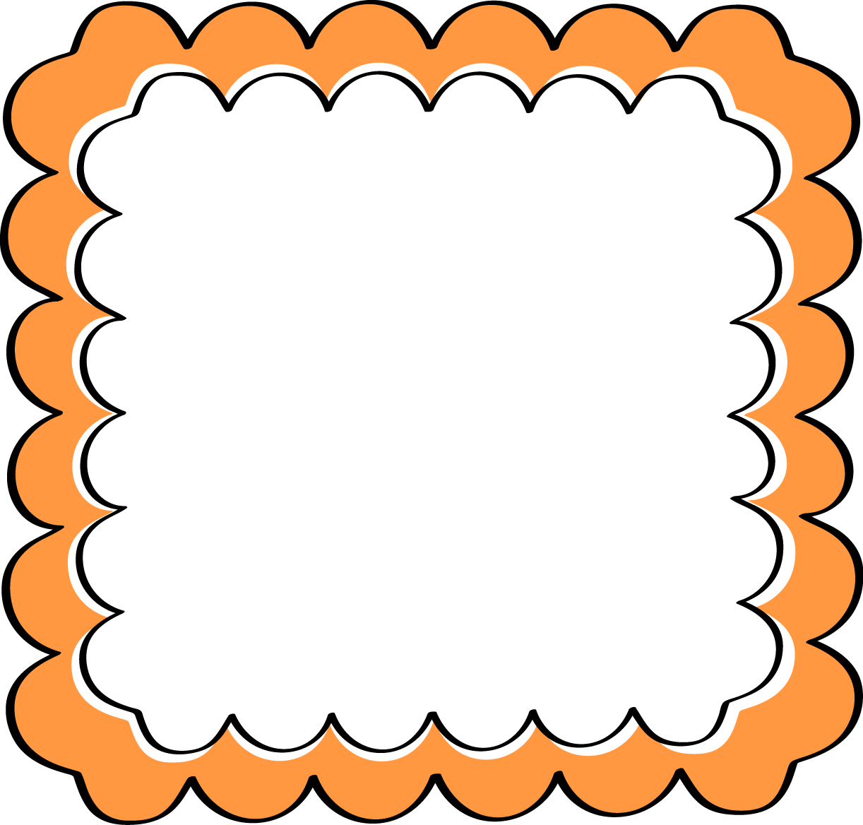 Square clipart curvy. Black and orange border