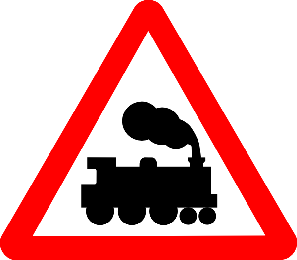 Train road signs clip. Clipart banner sign