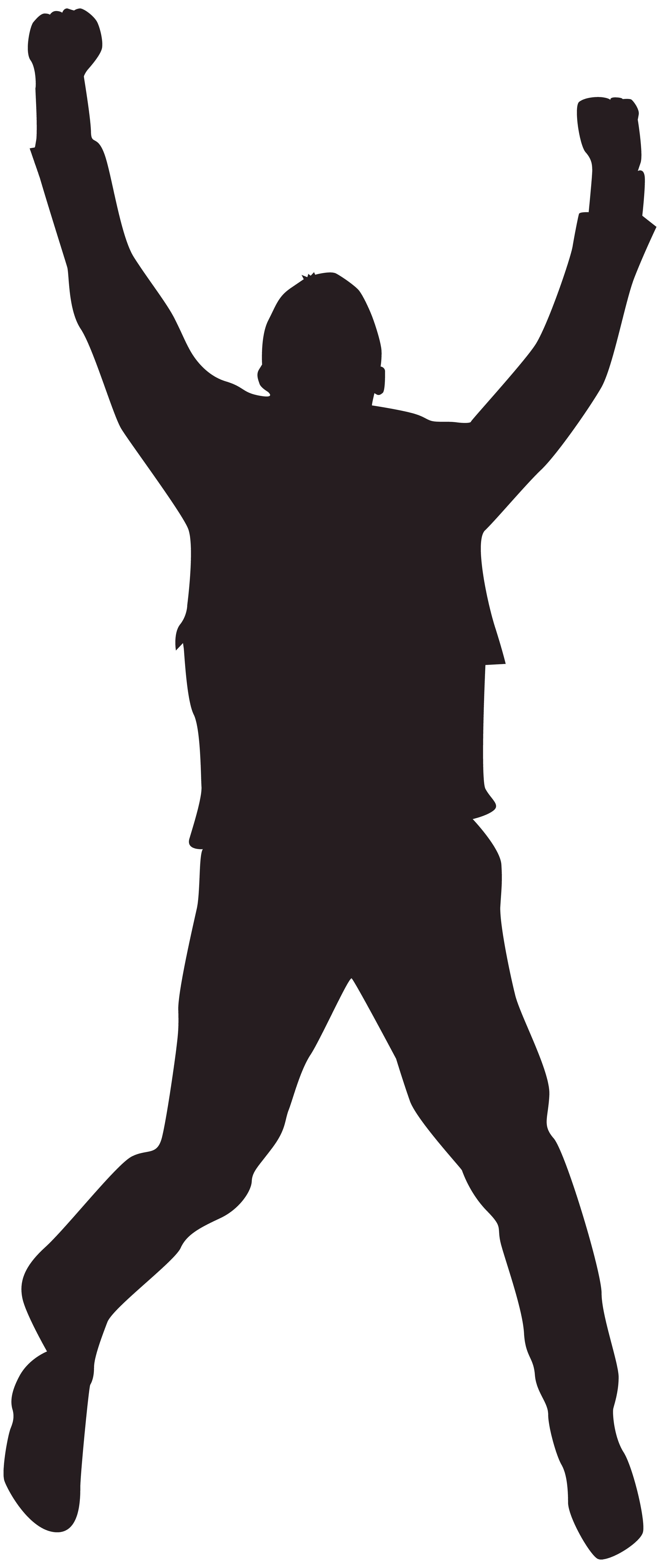 Jumping happy man silhouette. Happiness clipart happine