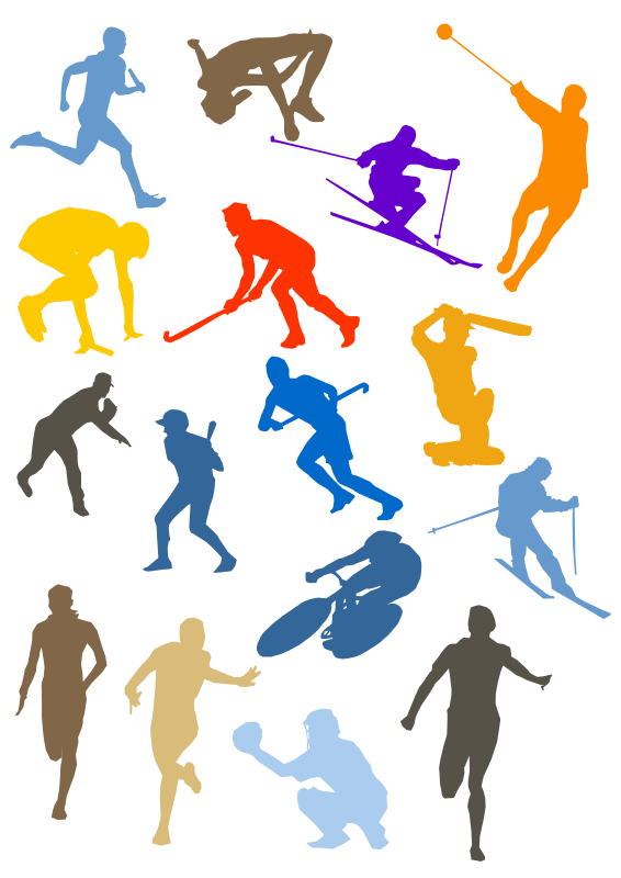 Free silhouette disciplines set. Movement clipart sport kit
