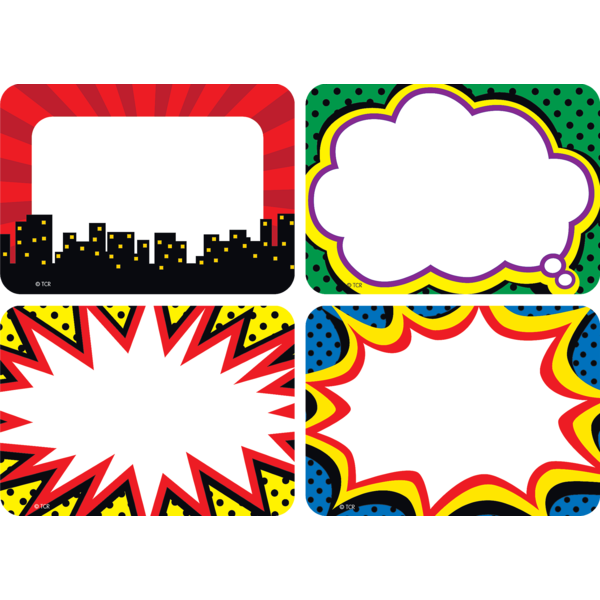 Superhero tags labels multi. Clipart writing writing name